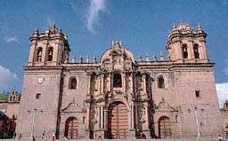 Image: Cathedral, built on Inca ruins, Cuzco. It contains treasures of Colonial Peru and the tomb of Inca/Spanish historian Garcilaso de la Vega.