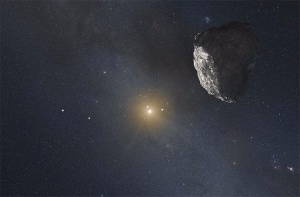This is an artist's impression of a Kuiper belt object in orbit around the sun -- could a massive planet also be out there?